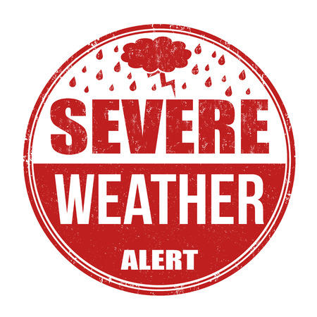 Severe weather alert grunge rubber stamp on white background