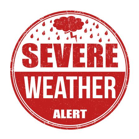 estado del tiempo: Grave alerta meteorológica grunge sello de goma en el fondo blanco Vectores