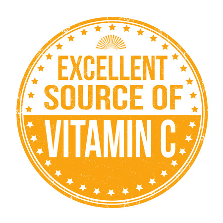 vitamin c: Excellent source of vitamin C grunge rubber stamp on white background, vector illustration