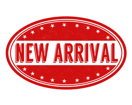 new arrival: New arrival grunge rubber stamp on white