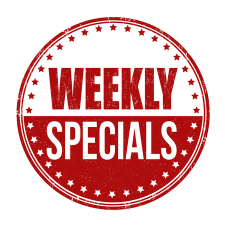 Weekly specials grunge rubber stamp on white