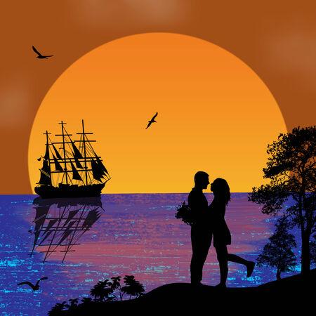 mariner: Ancient ship sailing at tropical sunset and lovers illustration