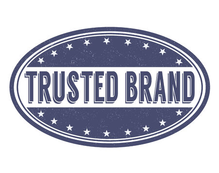 an illustration promoting: Trusted brand grunge rubber stamp on white