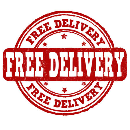paper delivery person: Free delivery grunge rubber stamp on white