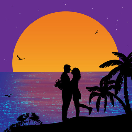lovers kissing: Romantic couple on the beach in beautiful seascape at sunset near ocean illustration Illustration
