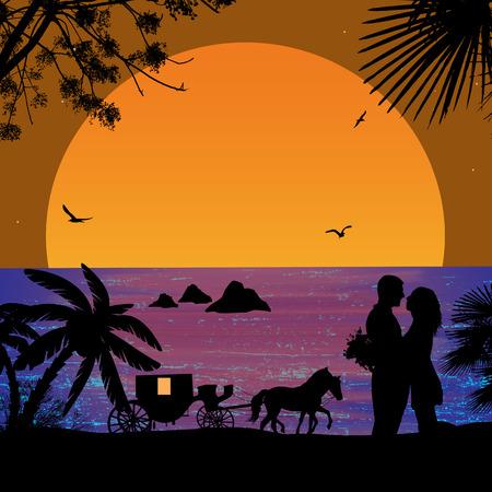 siluetas de enamorados: Transporte y amantes de la puesta del sol en la playa ilustración