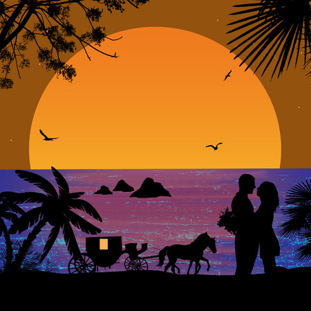 innamorati che si baciano: Trasporto e amanti al tramonto sulla spiaggia illustrazione