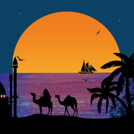 Camel caravan at sunset on the beach illustration Vector