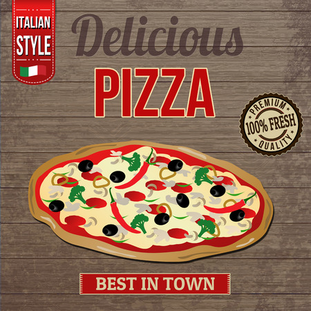 Vintage delicious pizza poster design on wooden background Vector