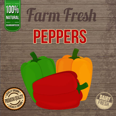 organic peppers sign: Vintage farm fresh peppers poster design on wooden background Illustration