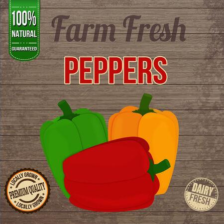 farm fresh: Vintage fattoria fresco peperoni manifesto disegno su sfondo di legno