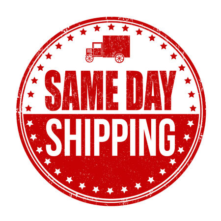 Same day shipping grunge rubber stamp on white