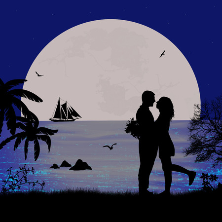 date night: Romantic couple on the beach in beautiful seascape at sunset near ocean Illustration
