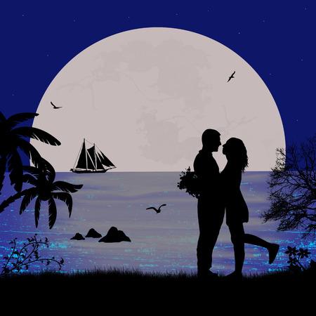 dattelpalme: Romantisches Paar am Strand in sch�ne Seenlandschaft bei Sonnenuntergang in der N�he von Meer