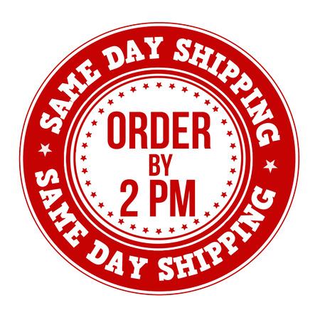 Etiqueta de envío el mismo día o el sello en blanco