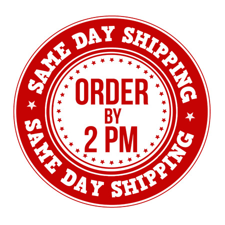 pm: Same day shipping label or stamp on white