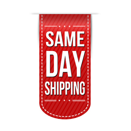 recommendations: Same day shipping banner design over a white background, vector illustration