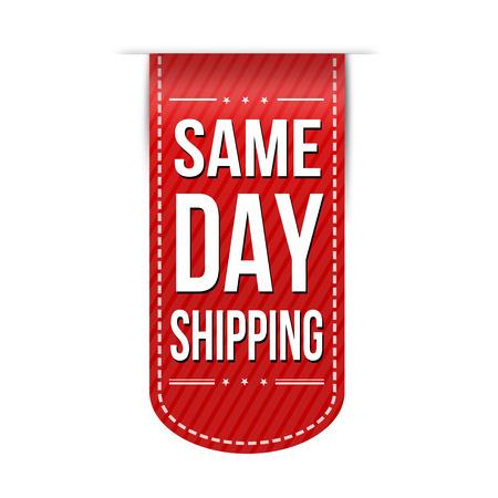 Same day shipping banner design over a white background, vector illustration
