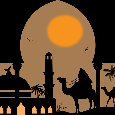Sunset landscape vector: Orient landscape with bedouin and mosquee on sunset, vector illustration