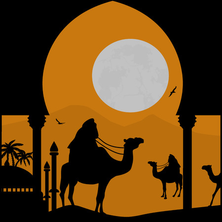 bedouin: Orient landscape with Bedouin and mosque on sunset, vector illustration