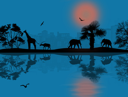 Wild african animals silhouettes in beautiful blue sunset near water, vector illustration Vector
