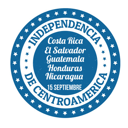 el salvador: Central America Independence Day ( in spanish language) grunge rubber stamp on white, vector illustration