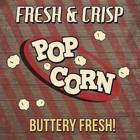 buttered: Pop corn vintage poster design on wooden background, vector illustration Illustration