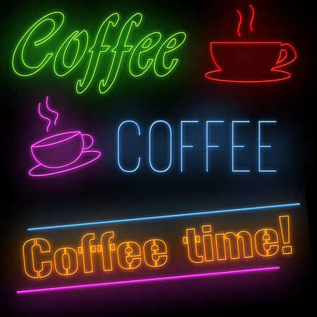 advertising signs: Set of coffee neon signs on black background