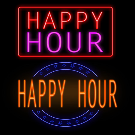 happy hour drink: Happy hour glowing neon sign on black, vector illustration