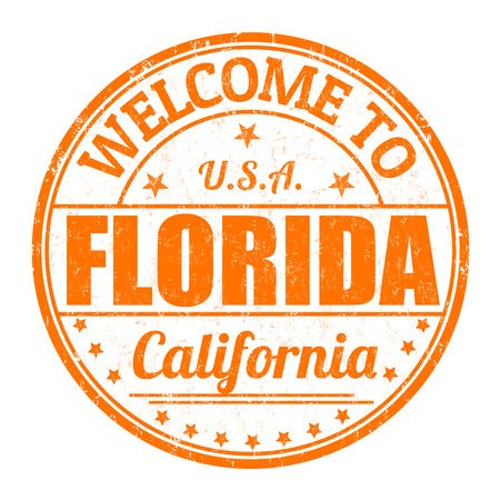 best travel destinations: Welcome to Florida grunge rubber stamp on white background, vector illustration