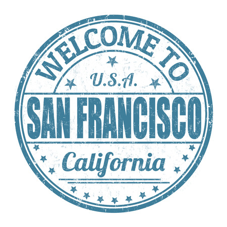 visit us: Welcome to San Francisco grunge rubber stamp on white background, vector illustration