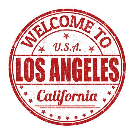 impress: Benvenuti a Los Angeles grunge timbro di gomma su sfondo bianco, illustrazione vettoriale