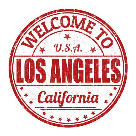 visit us: Welcome to Los Angeles grunge rubber stamp on white background, vector illustration