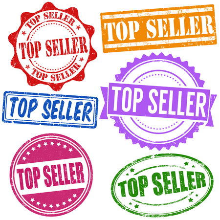 bestseller: Top seller grunge rubber stamps set on white, vector illustration