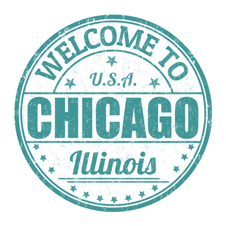 Welcome to Chicago grunge rubber stamp on white background, vector illustration