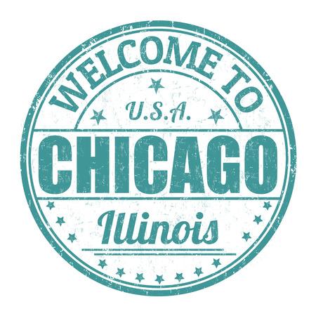 Willkommen in Chicago Grunge Stempel auf weißem Hintergrund, Vektor-Illustration Standard-Bild - 30667791