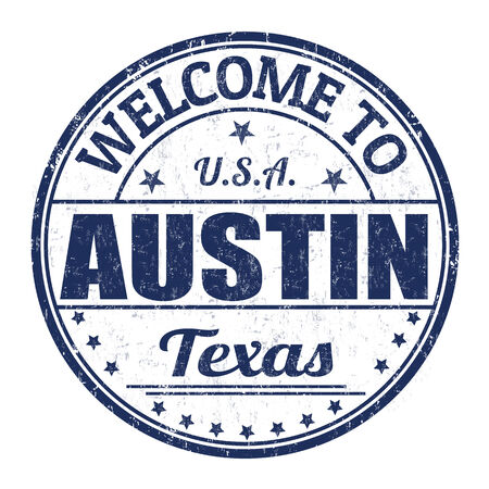 best travel destinations: Welcome to Austin grunge rubber stamp on white background, vector illustration Illustration