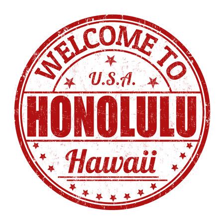 honolulu: Welcome to Honolulu grunge rubber stamp on white background, vector illustration Illustration