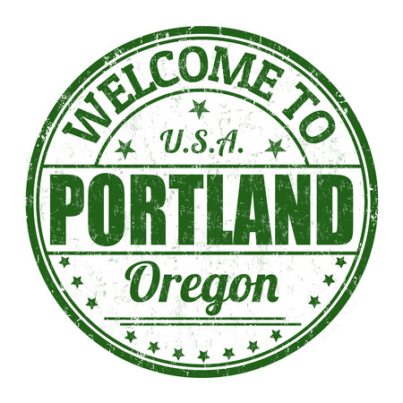Welcome to Portland grunge rubber stamp on white background, vector illustration
