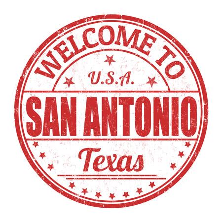 impress: Benvenuti a San Antonio grunge timbro di gomma su sfondo bianco, illustrazione vettoriale