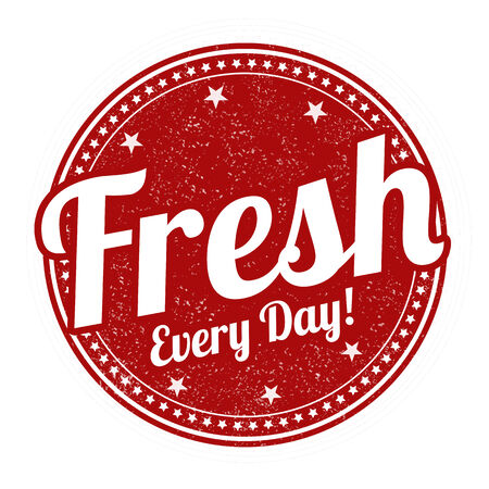 every day: Fresh every day grunge rubber stamp on white background, vector illustration
