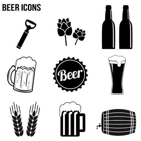 Iconos de la cerveza establecidos en el fondo blanco, ilustración vectorial
