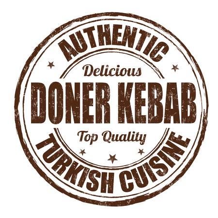 pinchos morunos: Doner kebab grunge sello de goma en el fondo blanco, ilustración vectorial