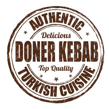 Doner kebab grunge rubber stamp on white background, vector illustration