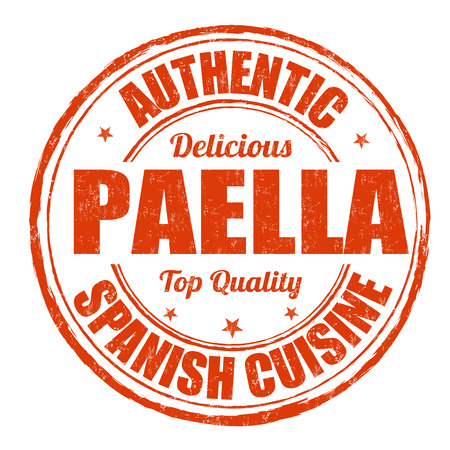 Paella grunge rubber stamp on white background, vector illustration Çizim