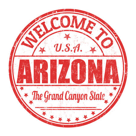 grand canyon: Welcome to Arizona grunge rubber stamp on white background, vector illustration Illustration