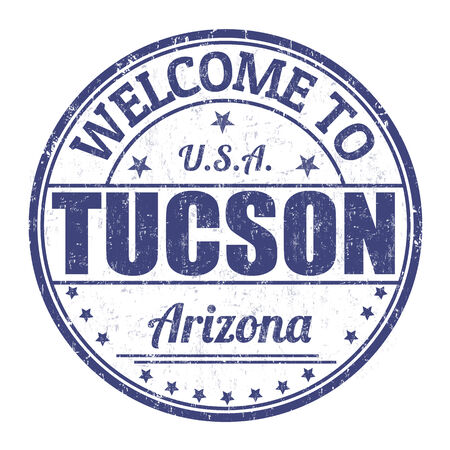 visit us: Welcome to Tucson grunge rubber stamp on white background, vector illustration