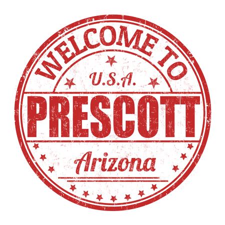 visit us: Welcome to Prescott grunge rubber stamp on white background, vector illustration