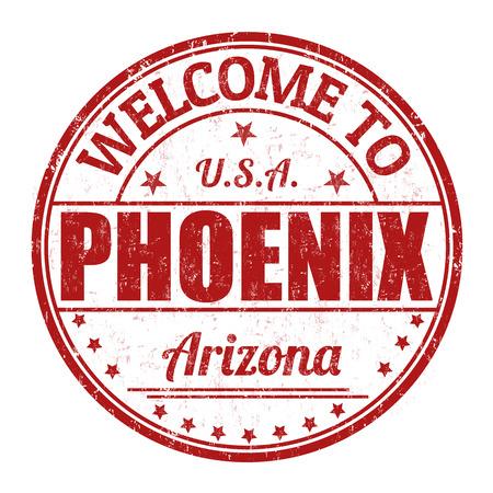 visit us: Welcome to Phoenix grunge rubber stamp on white background, vector illustration Illustration