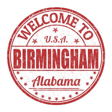alabama: Welcome to Birmingham grunge rubber stamp on white background, vector illustration
